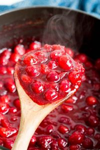 Cranberry sauce reduced by half