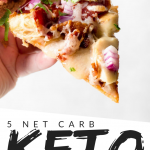 "PINTEREST IMAGE with words ""5 net carb keto bbq chicken pizza"" with image of Keto BBQ Chicken Pizza slice being held in one hand."