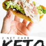 "PINTEREST IMAGE with words ""2 net carb keto 90 Second Keto Bread 90 second bread"" with image of a slice of 90 Second Keto Bread with avocado and prosciutto on top being held in one hand."