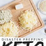 """PINTEREST IMAGE with words """"disaster prepping keto ingredients to freeze"""" with overhead shot of ingredients piled on wooden cutting board and in assorted glass bowls."""