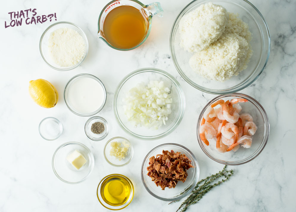 All the ingredients you need for Keto Cauliflower Risotto with Shrimp and Bacon