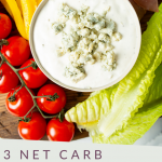 "PINTEREST IMAGE with words '3Net Carb Keto Blue Cheese Dressing"" and image of blue cheese dressing in bowl"