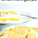 """PINTEREST IMAGE with words """"5 net carb keto lemon meringue pie"""" with the lemon meringue pie sitting in a glass pan with a slice cut out showing the inside layers of the pie. The single slice in the background on a white plate with a fork beside."""