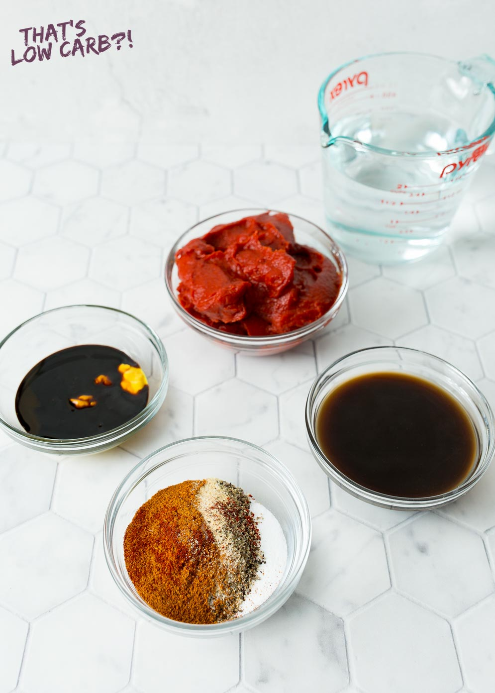 Ingredients displayed out what is needed to make low carb barbecue sauce