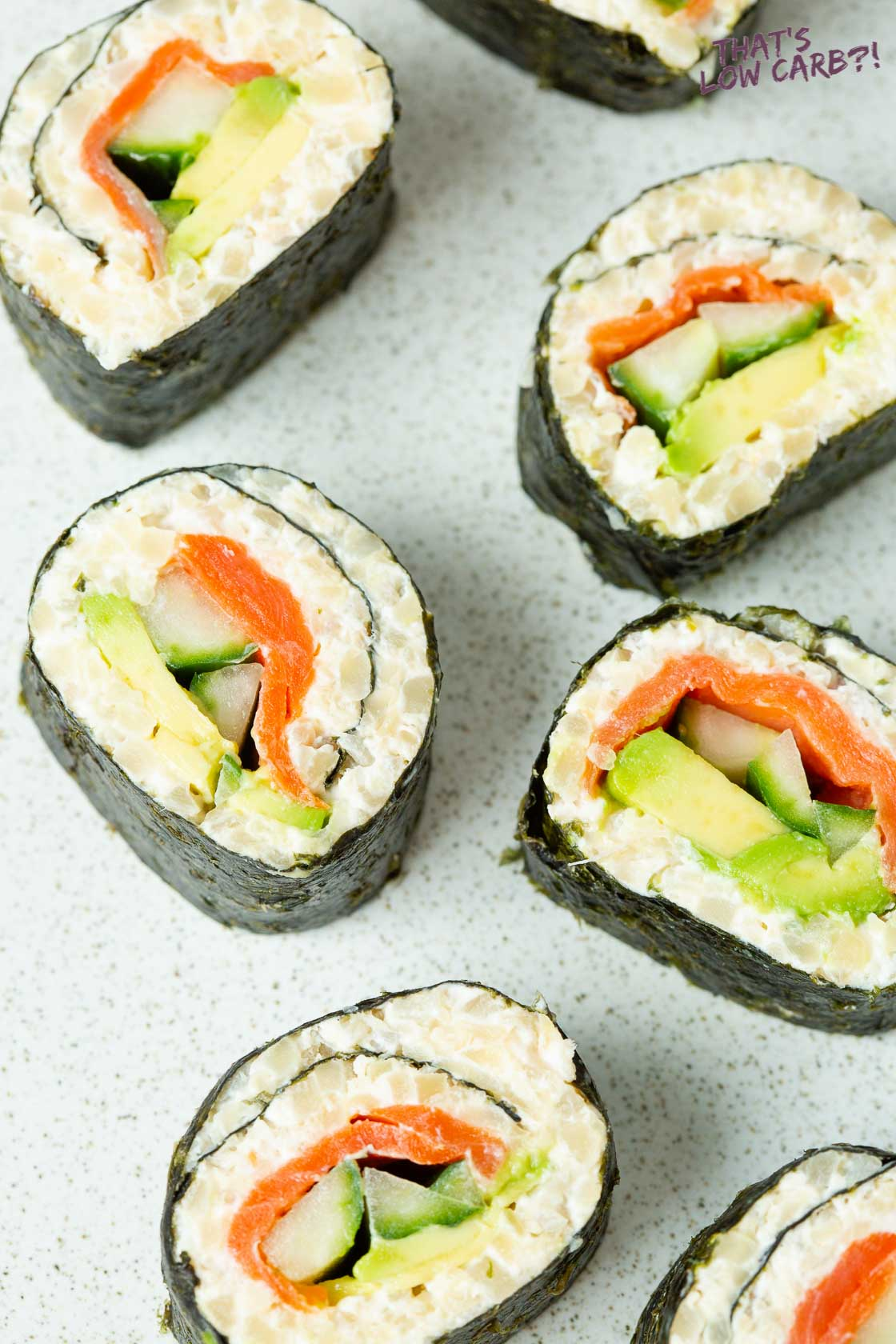 Smoked Salmon sushi rolls with avocado and cucumber