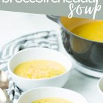 Two bowls with broccoli cheddar soup
